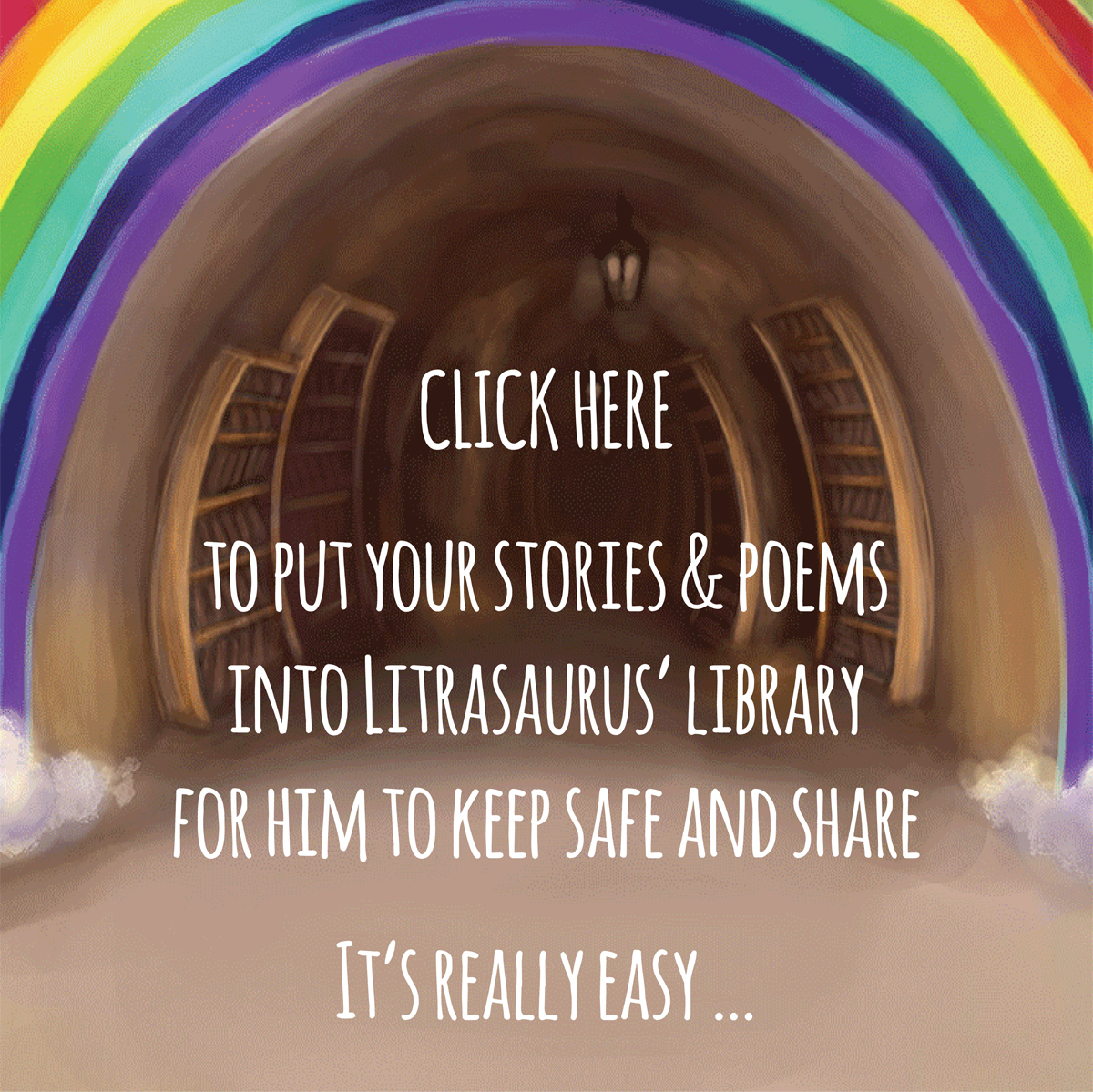 Put your stories & poems into Litrasaurus' library for him to keep safe and share