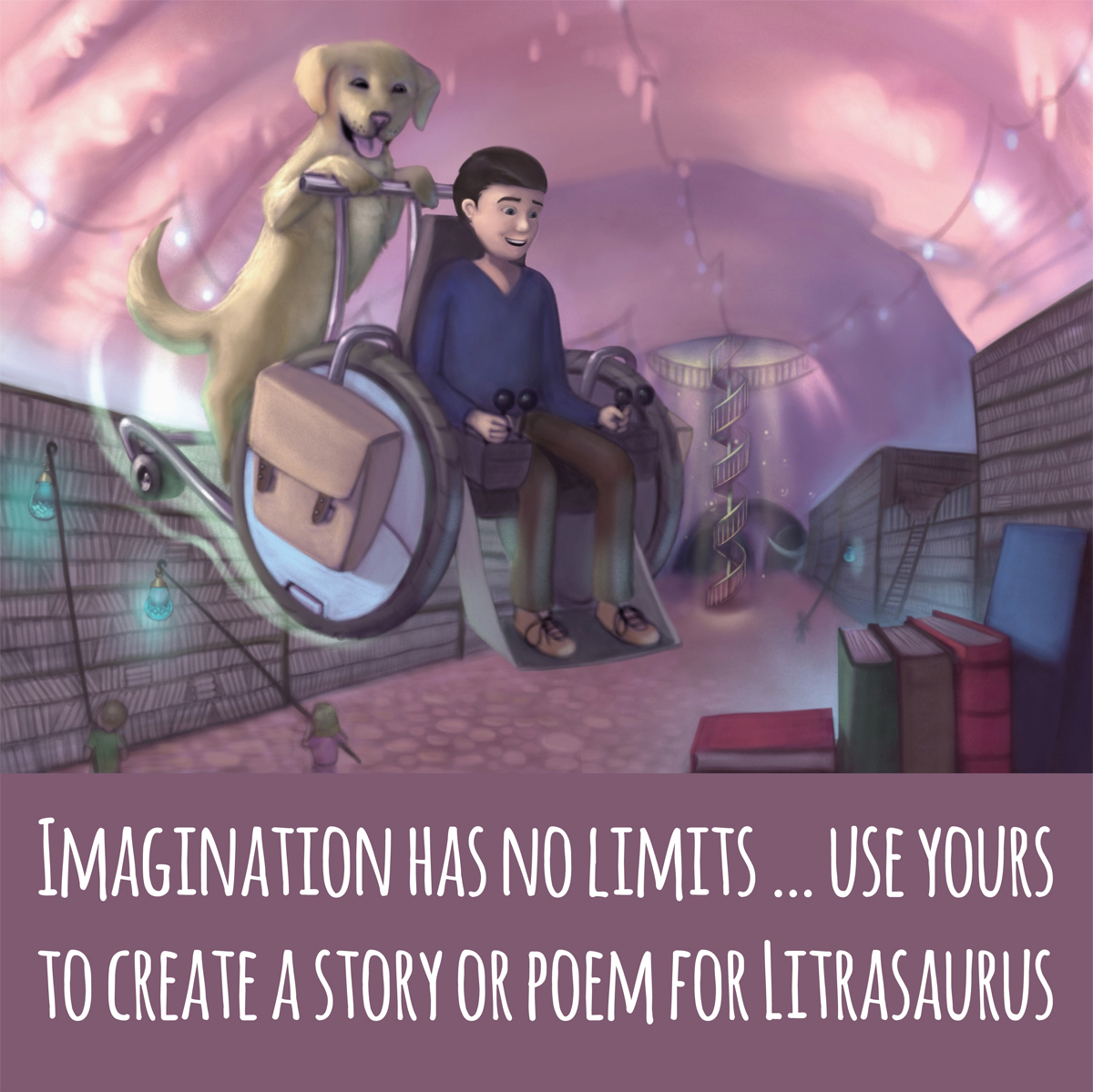 Imagination knows no limits use yours to create a story of poem for Litrasaurus